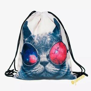 Cat DRAWSTRING Backpack BAG Cosmic Cool